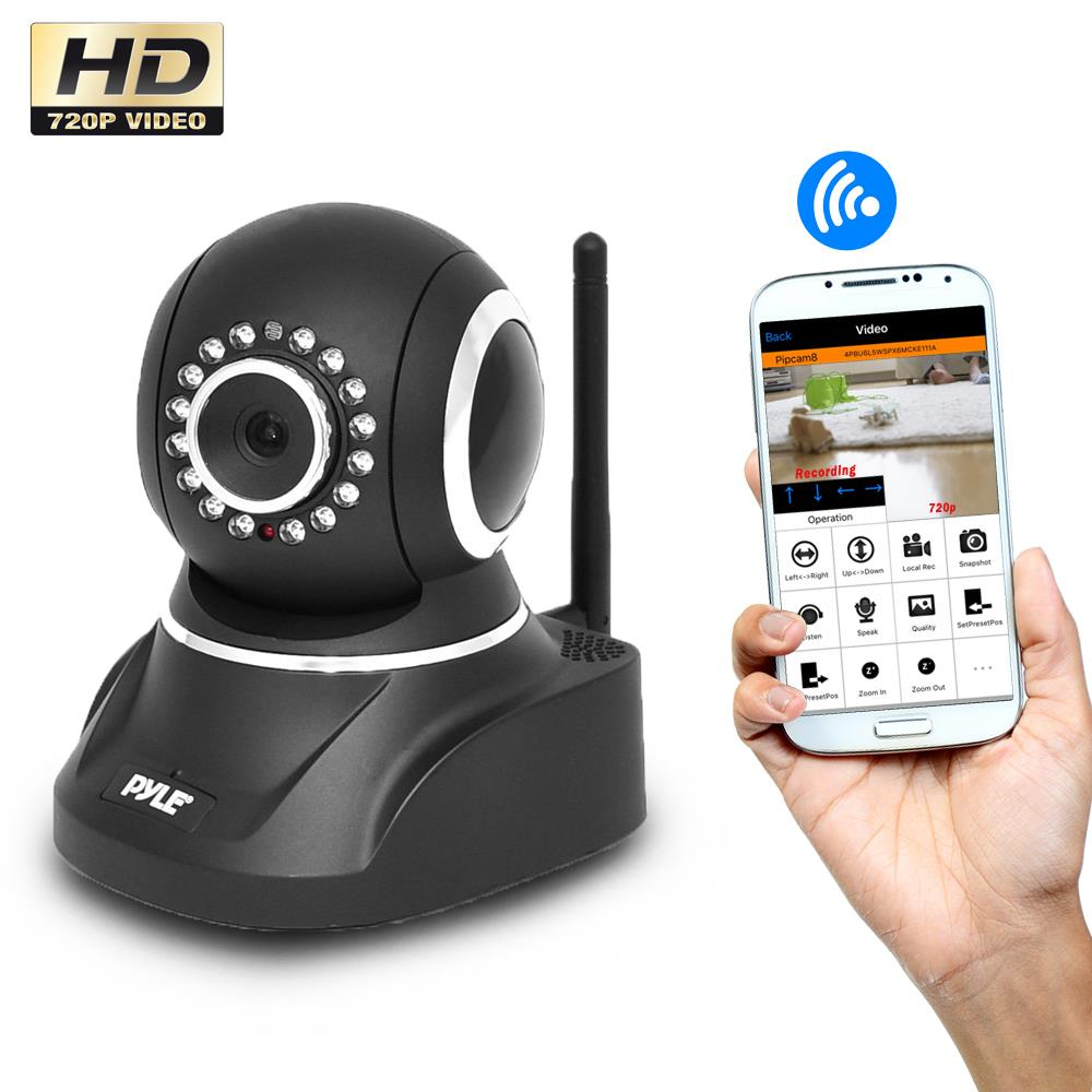 new pyle pipcam5 wireless ip security camera wireless pan. Black Bedroom Furniture Sets. Home Design Ideas