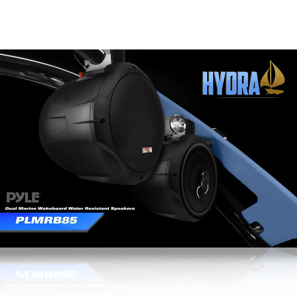 pair of pyle plmrb85 8 39 39 300 watt 2 way wake board marine speakers black ebay. Black Bedroom Furniture Sets. Home Design Ideas