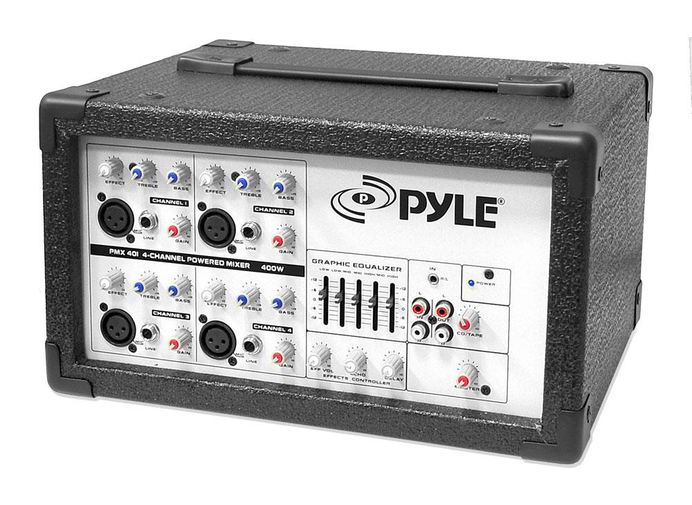 pyle pmx401 150 watt 4 channel powered pa mixer amplifier ebay. Black Bedroom Furniture Sets. Home Design Ideas