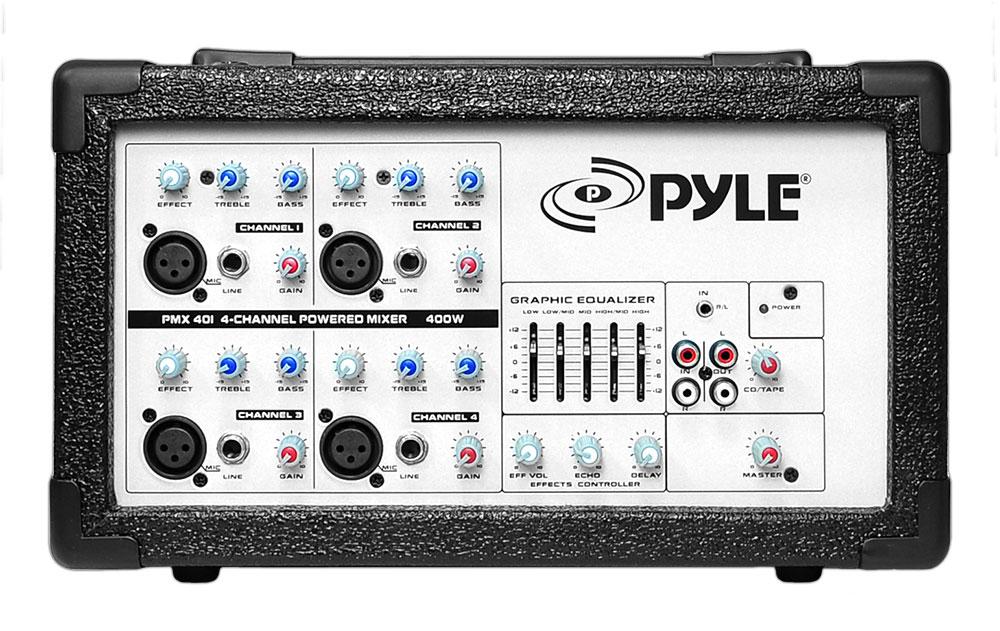 pyle pmx  watt  channel powered pa mixer amplifier ebay