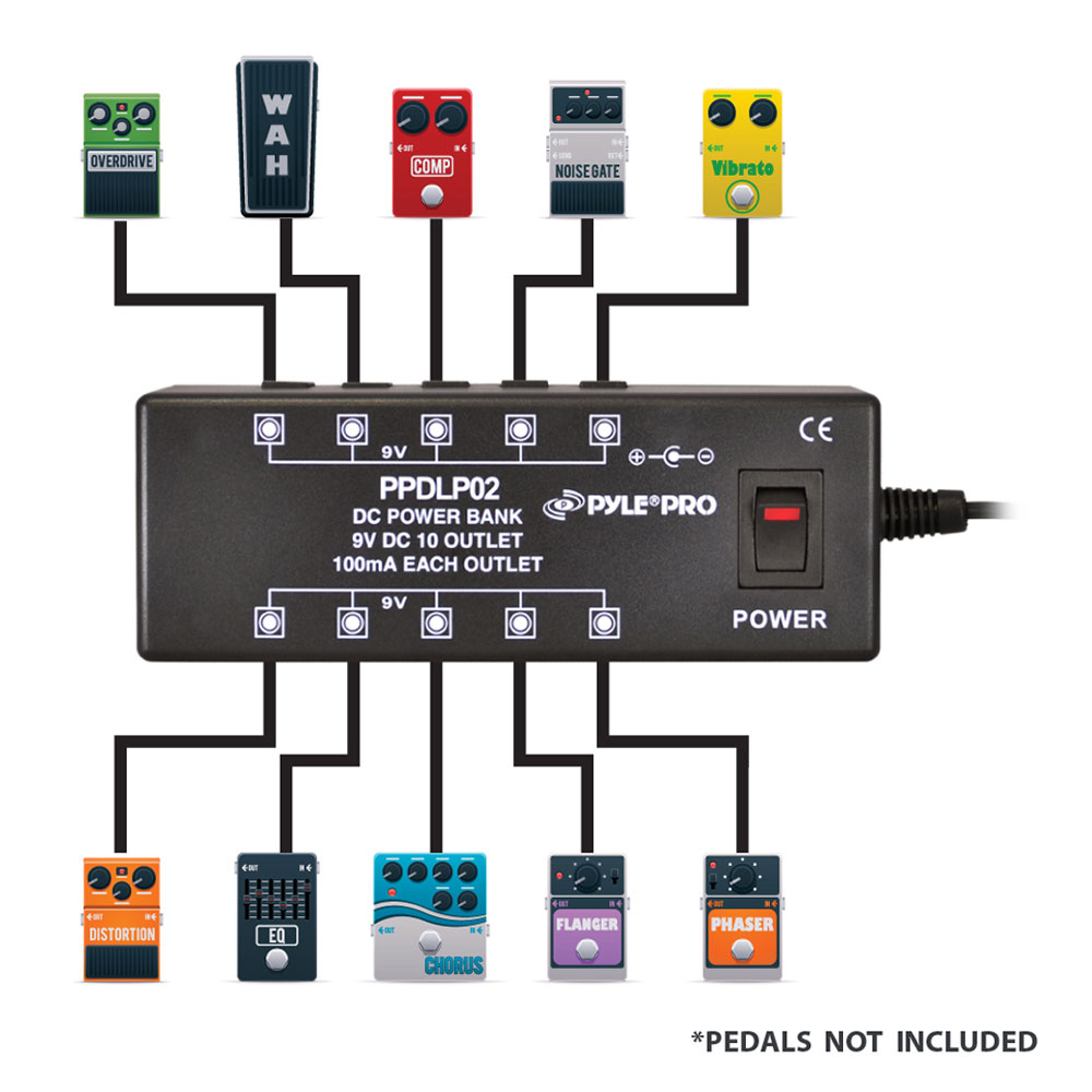 new pyle ppdlp02 dc pedal board power supply up to 10 guitar pedals at 9 volts 68888995061 ebay. Black Bedroom Furniture Sets. Home Design Ideas