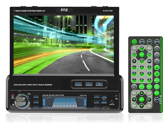 Pyle - 7'' Single DIN In-Dash Motorized Touch Screen TFT/LCD Monitor w/ DVD/CD/MP3/MP4/USB/SD/AM-FM/RDS Receiver at Sears.com