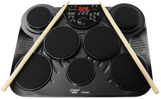 new pyle pted01 electronic table top drum kit 7 pad 2 pedals 25 preset drum kits 68888980999 ebay. Black Bedroom Furniture Sets. Home Design Ideas