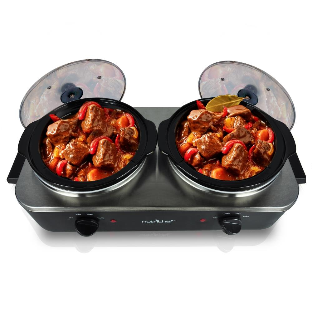 Table Top Electric Food Warmers ~ New nutrichef pkbfwm dual pot electric slow cooker food