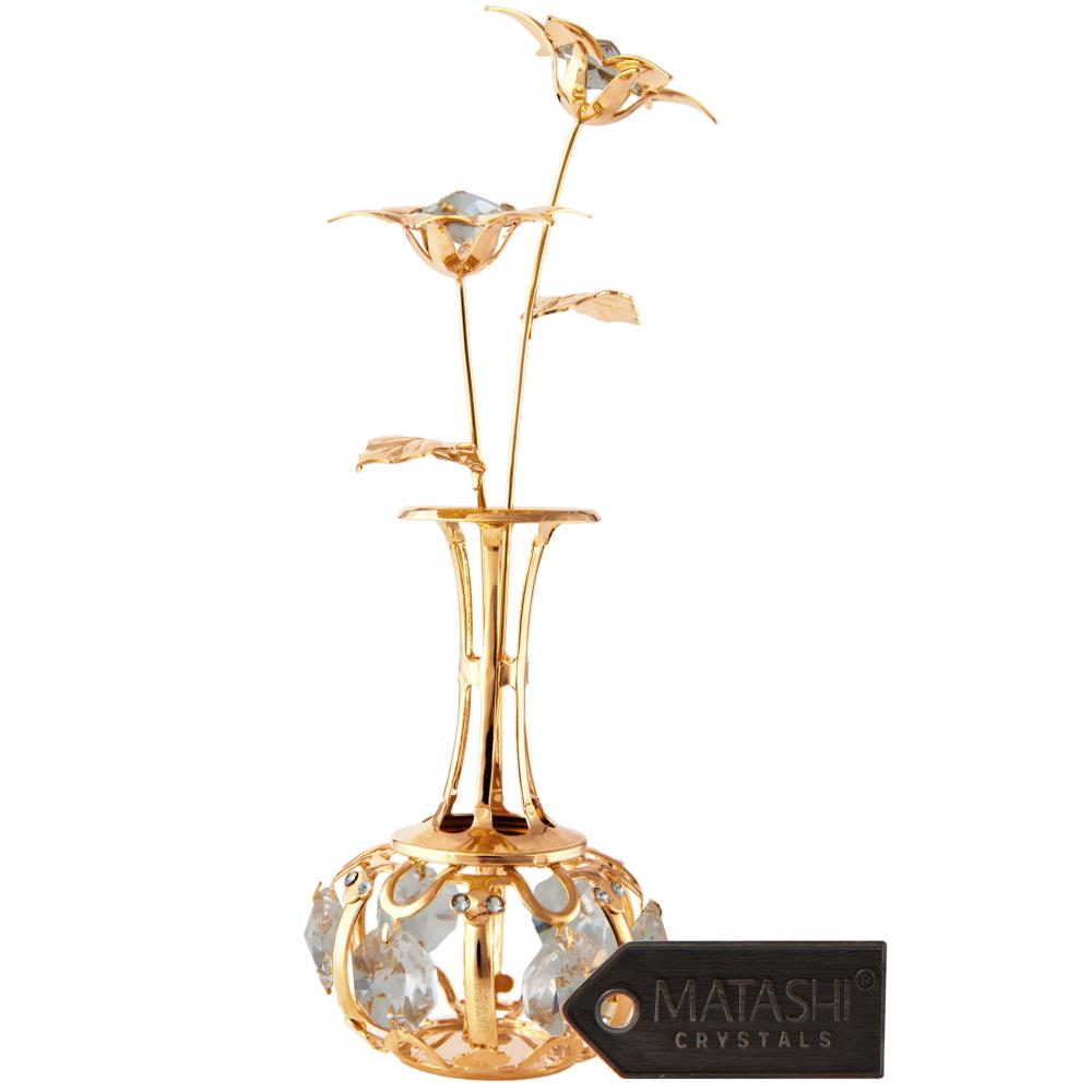 Matashi - CT3041 - 24K Gold Plated Sun Flowers In vase Ornament
