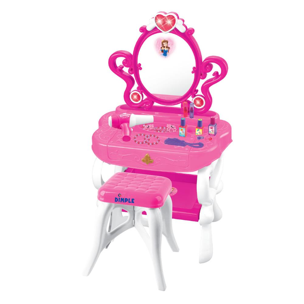 2 In 1 Princess Pretend Play Vanity Set Table W/ Working Piano Beauty Set  For Girls W/ Toy Makeup Cosmetics Accessories,Hair Dryer, Keyboard,Flashing  Lights ...