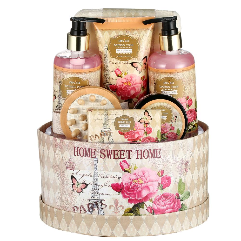 25b31b3ed5c93 Draizee 7-Piece Spa Gift Set – Rose Scented Bath Relaxation Essentials In  Beautiful Box – Shower Gel