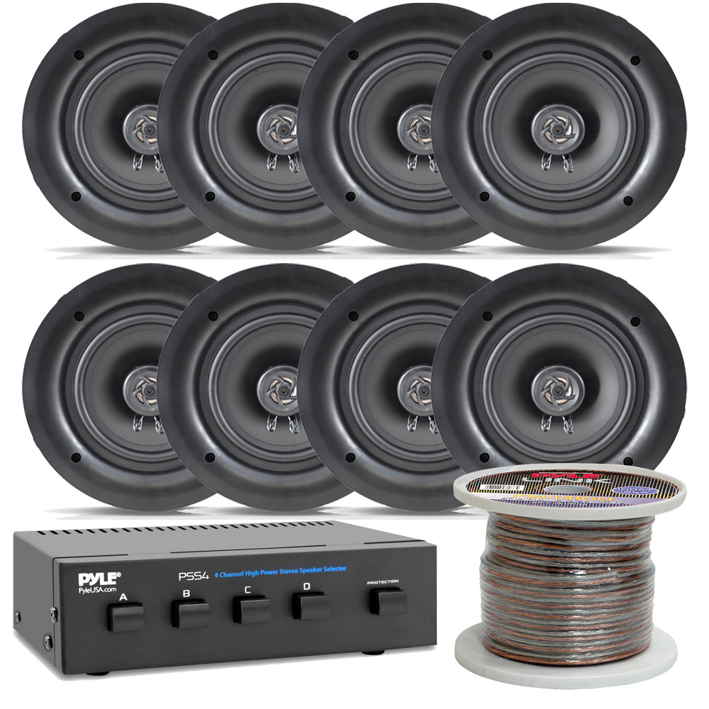 """NEW Pyle PDIC56 PAIR of 5.25/"""" In-Wall//In-Ceiling 150W 2-Way Flush Mount speakers"""