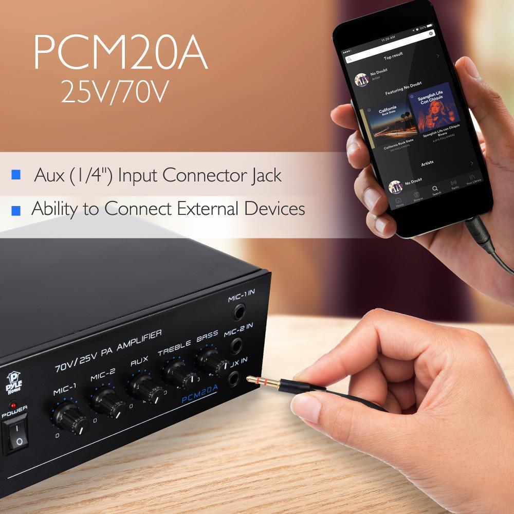 Pylehome Pcm20a 25v 70v Power Amplifier Microphone Audio 1 4 Speaker Jack Wiring Control Amp Mic Inputs 40 Watt