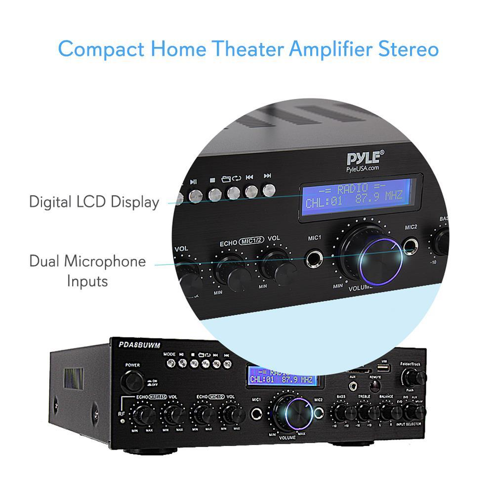 Pyle - PDA8BUWM - Compact Home Theater Amplifier Stereo