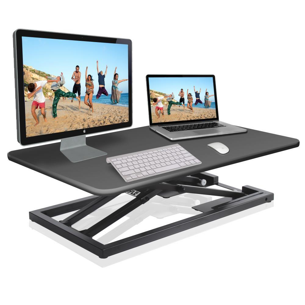 Low Profile Sitting Standing Laptop Computer Monitor Desk Stand