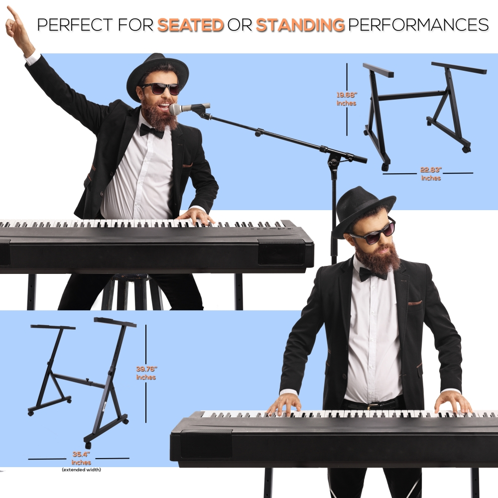 PKST48.5 Pyle Heavy-Duty Keyboard Digital//Electronic Piano Stand with Height Adjustable /& Locking Wheels