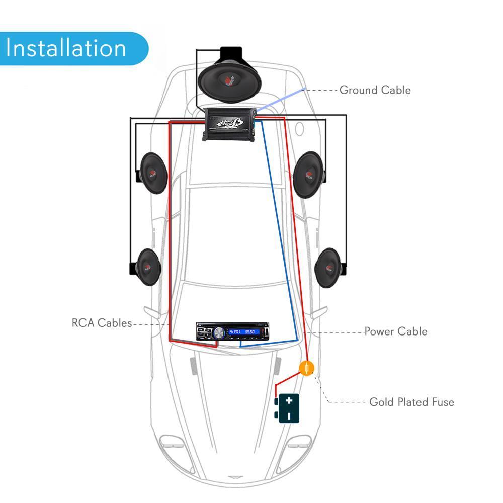 NEW Pyle PLAM14 20 FT 8 Gauge 1000 Watts Amplifier /& Speakers Installation Kit