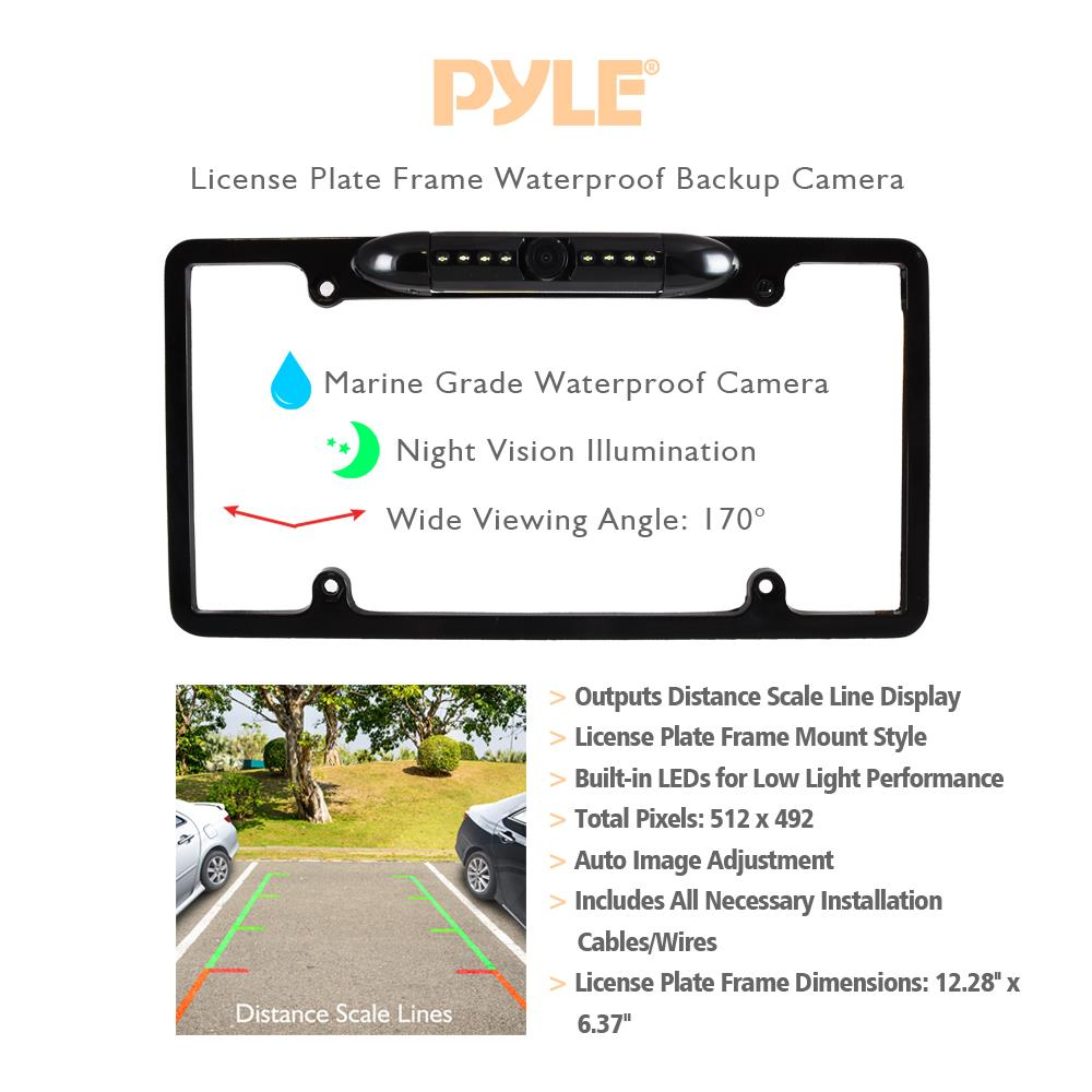 Pyle Plcm16bp License Plate Frame Rear View Backup Camera Plcm7700 Wiring Diagram Reverse Parking Assist Night Vision Waterproof Cam Distance Scale Lines