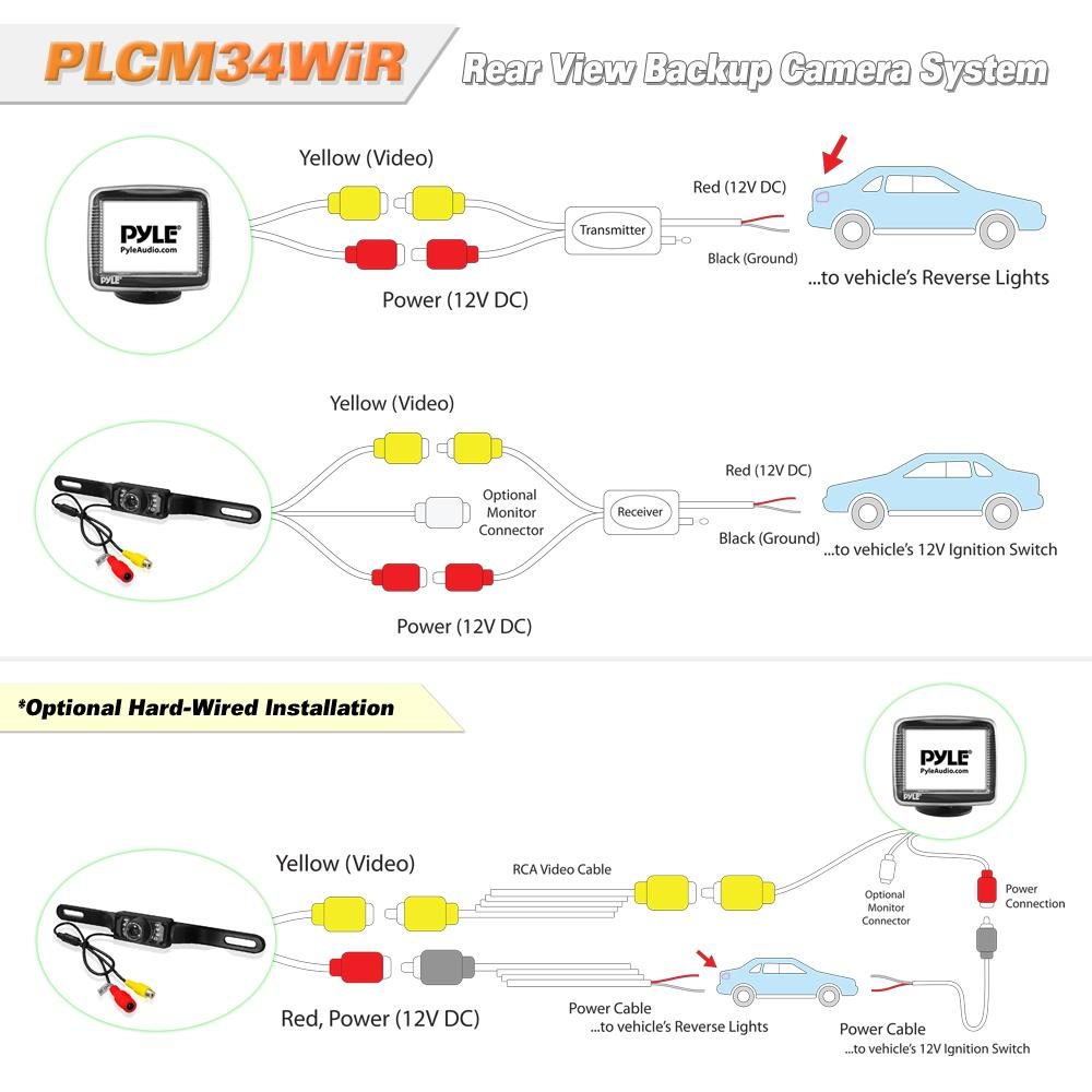 PLCM34WIR_diagram pyle plcm34wir wireless rear view backup camera and monitor wiring diagram for wireless backup camera at gsmx.co