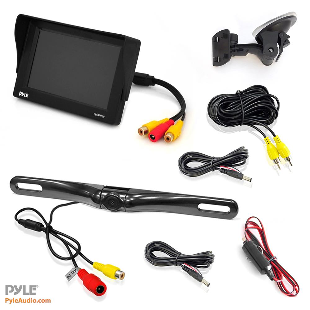 Pyle Plcm4700 Rear View Backup Camera Monitor Parking Plcm18bc Wiring Diagram Reverse Assist System Includes Waterproof Night Vision Cam Angle Adjustable Distance Scale