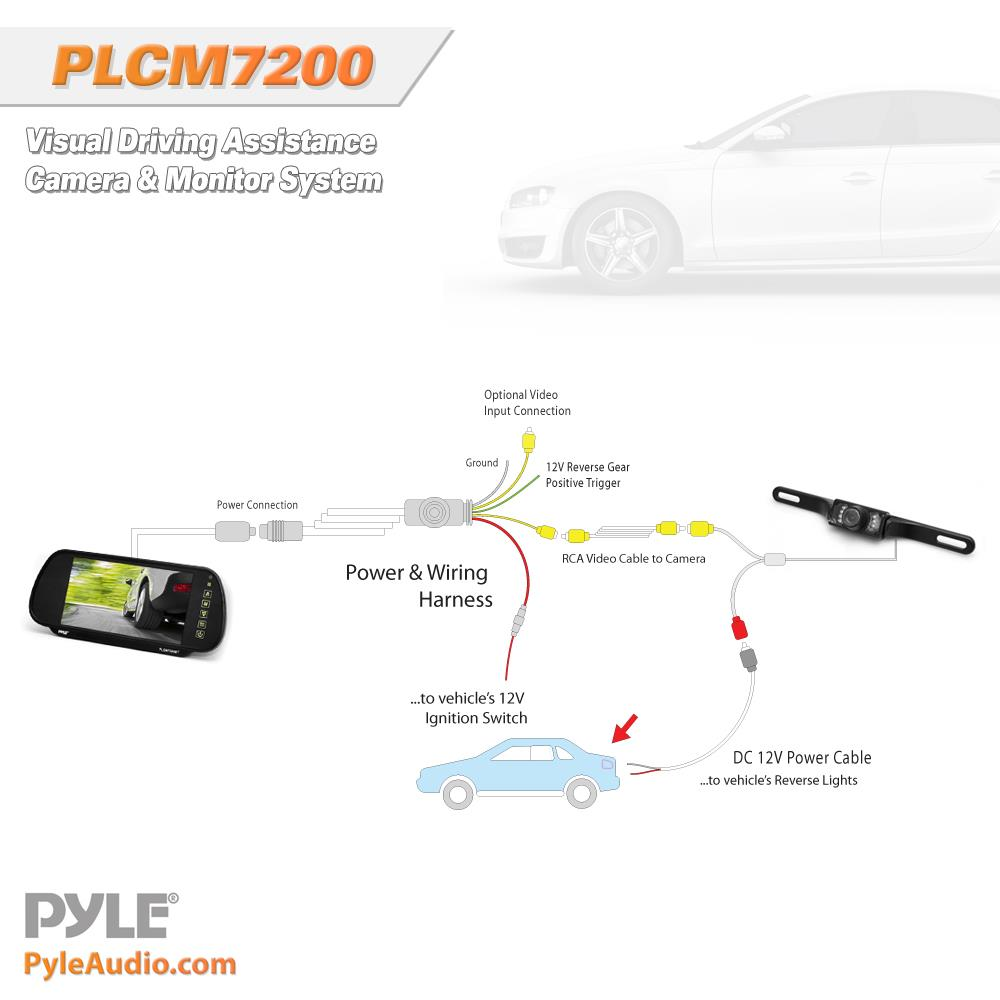 pyle plcm7200 backup camera rearview monitor parking assist rh qualitycaraudio com Rear View Camera Rear View Mirror Camera