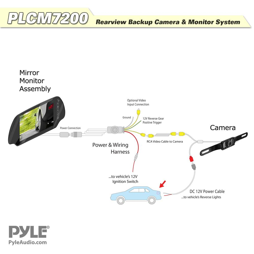 pyle - plcm7200 backup camera & rearview monitor parking assist system,  waterproof night vision cam, 7'' lcd display built-into mirror assembly,
