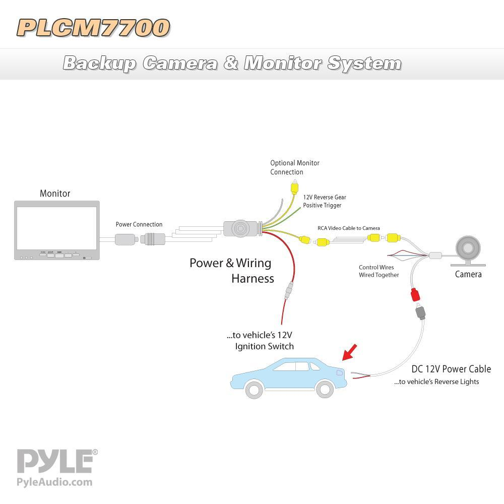 pyle - plcm7700 - rear view backup camera and monitor system with 7'' lcd  display screen, waterproof night vision camera, distance scale lines,  parking/reverse assist  quality car audio