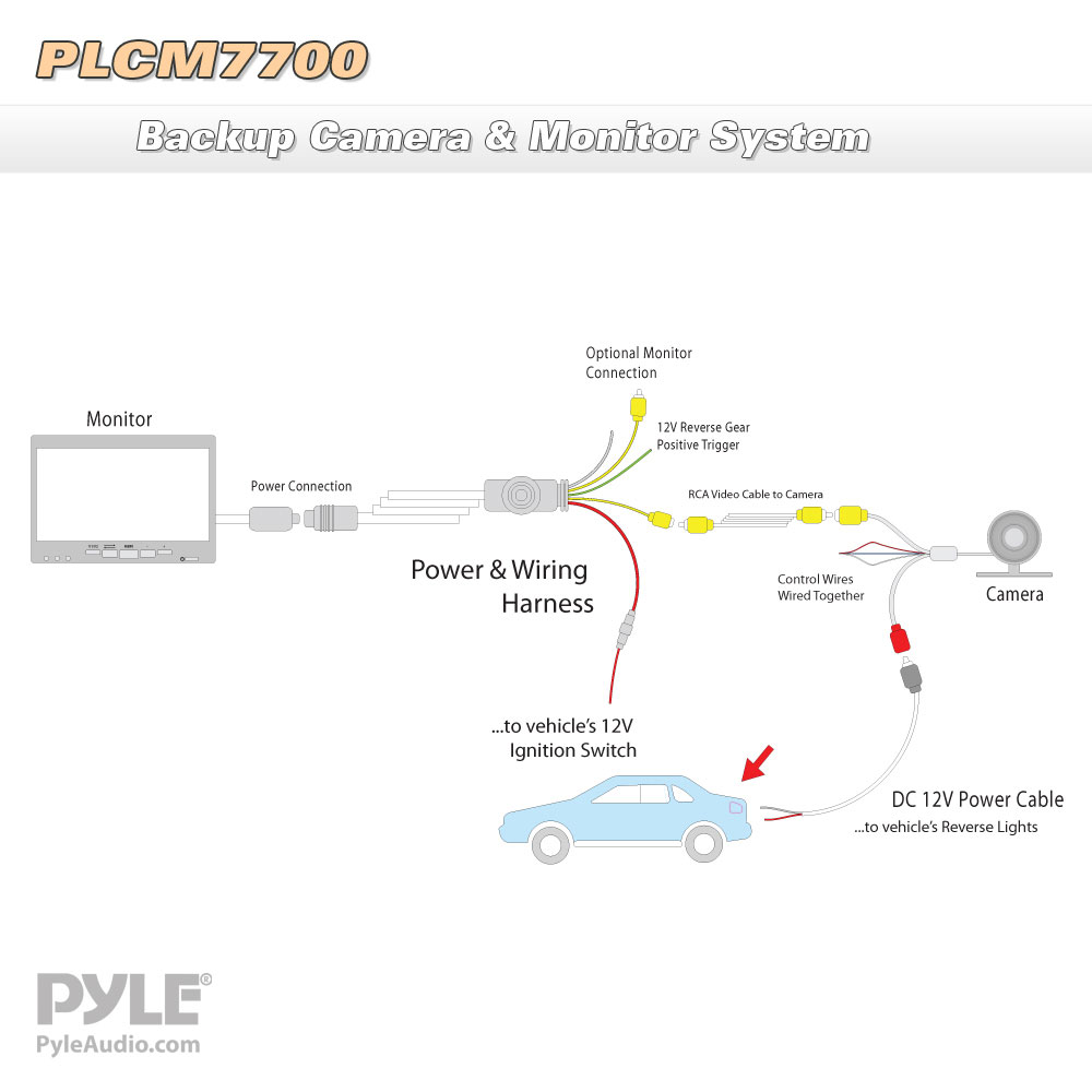 PLCM7700_diagram pyle plcm7700 rear view backup camera and monitor system with pyle backup camera wiring diagram at gsmportal.co