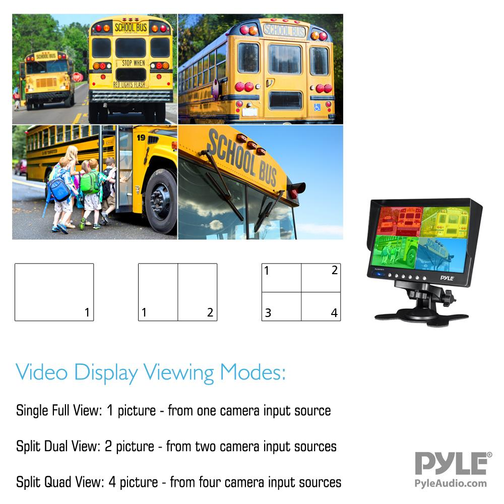 Pyle Plcmtr74 Weatherproof Rearview Backup Camera Monitor Plcm18bc Wiring Diagram Safety Driving Video System 7 4 Night Vision Cameras Commercial Grade