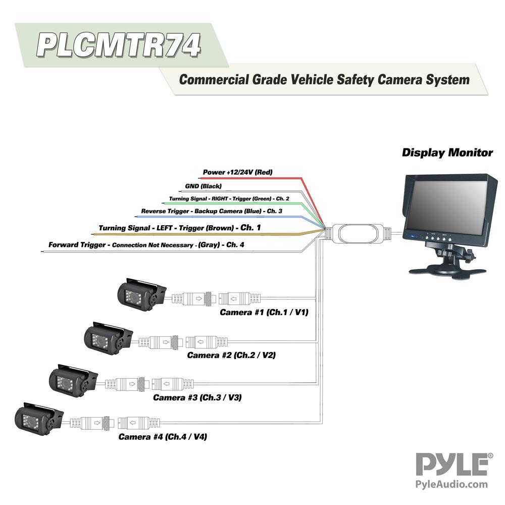 Pyle Plcmtr74 Weatherproof Rearview Backup Camera Monitor 12 To 24 Volt Wiring Diagram 4 Prong Safety Driving Video System 7 Night Vision Cameras Commercial Grade Dual Dc Voltage
