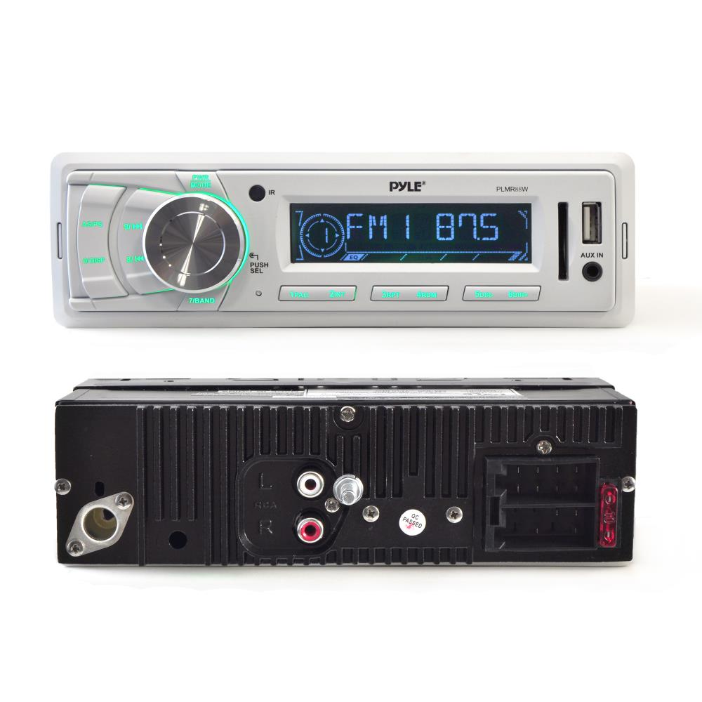 Pyle Ktplmrt14 Marine Wire Antenna Dual 65 Waterproof Audio Wiring Speakers Full Range Stereo Sound 120 Watt White Radio Headunit Receiver Aux 35mm Mp3 Input