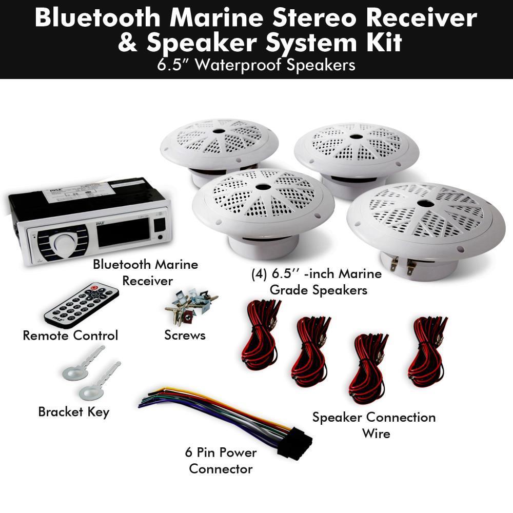 Pyle - PLMRKT38W - Bluetooth Marine Receiver Stereo & Speaker Kit