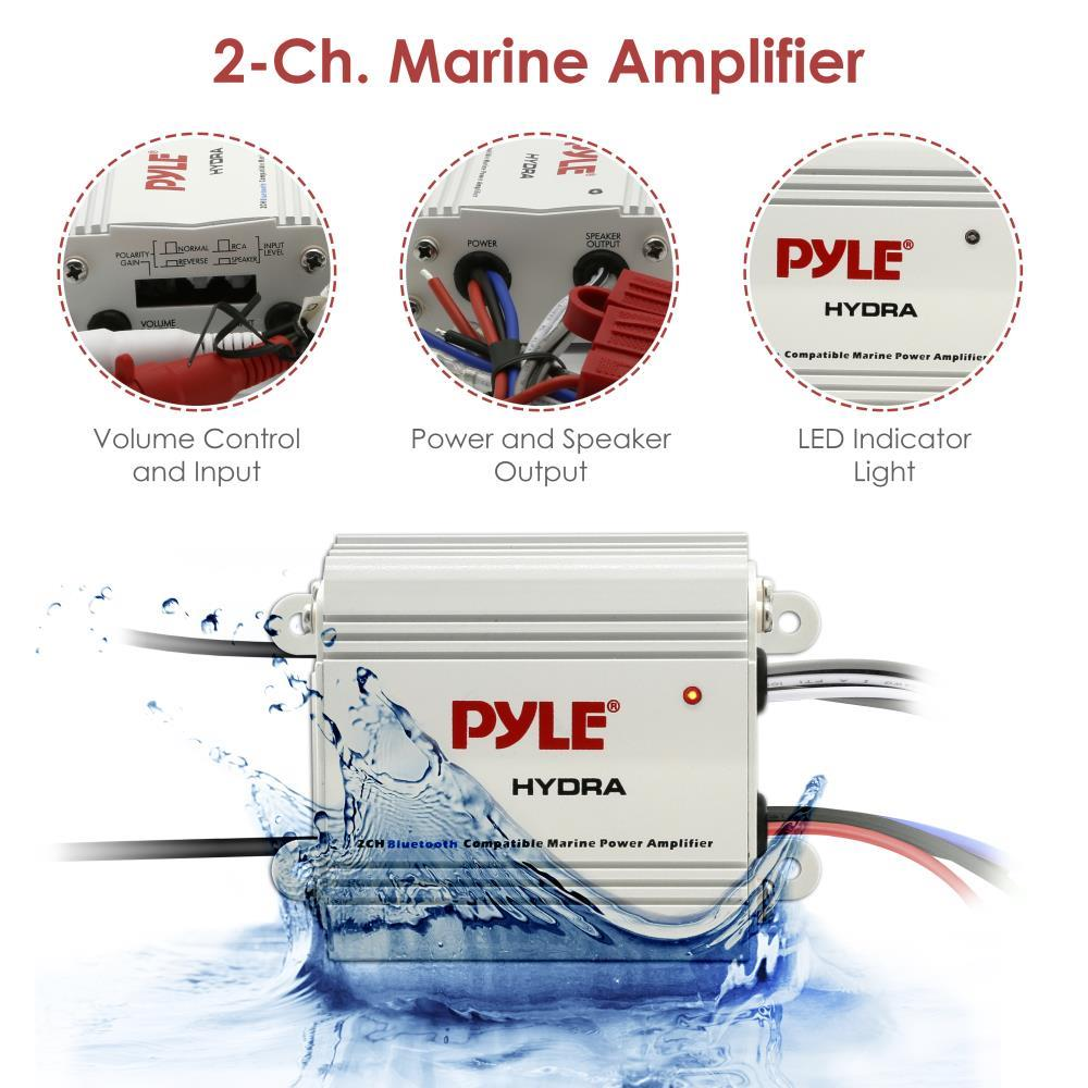 2-Ch Bluetooth Marine Amplifier Kit Waterproof Audio Power Amp System