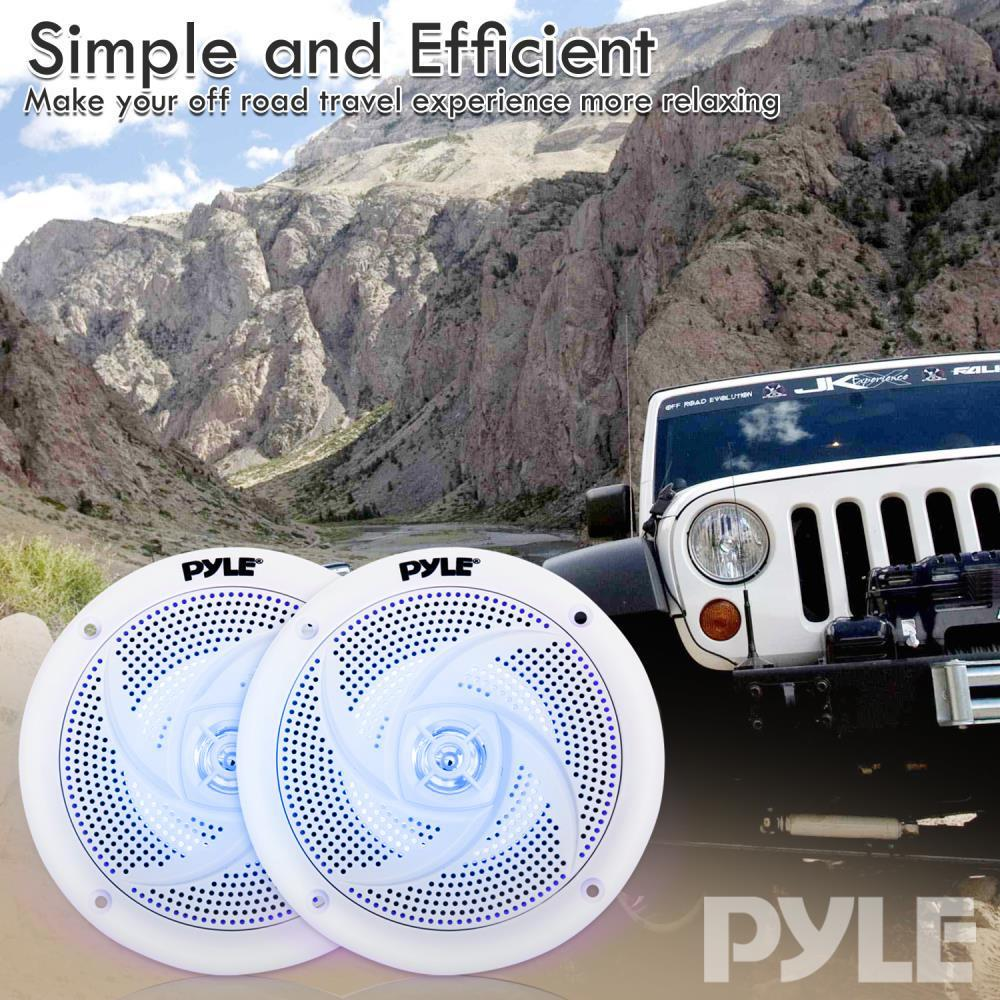 """Lot of 2 Pyle PLMRS53WL 5.25/"""" 180W Low-Profile Marine Speakers with LED Lights"""