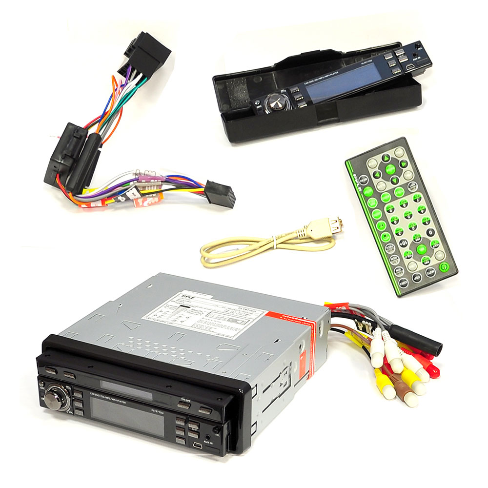 Pyle - PLTS77DU - 7'' Single DIN In-Dash Motorized Touch ... Pyle Plts Du Wiring Harness on pyle speaker, pyle receiver wiring, pyle plmpa35 wiring guide, dual car stereo wire harness, pyle pldnv695 wiring diagrams,
