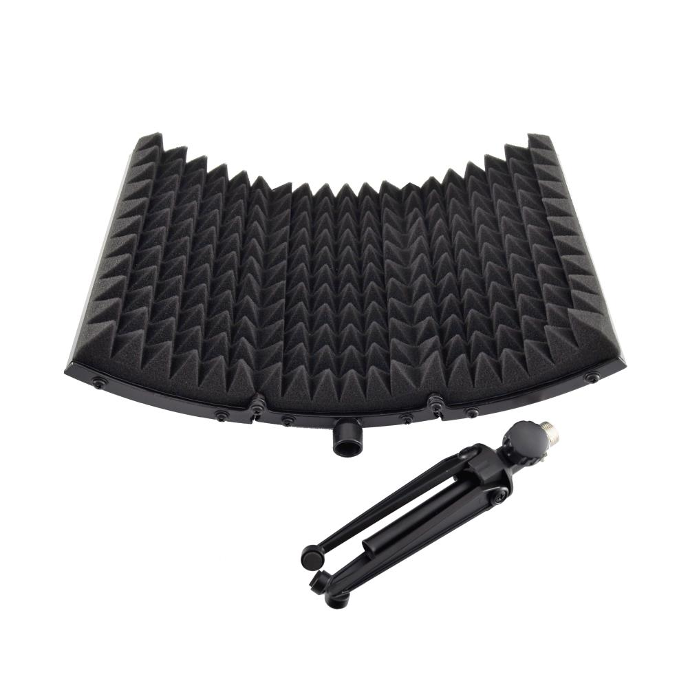 pyle psmrs08 compact microphone isolation shield studio mic sound dampening foam reflector