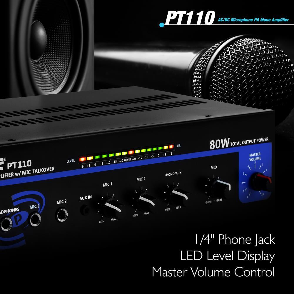 PA105 80 Watt Microphone AC /& DC 12 Volt PA Amplifier 70V Output /& Mic Talk Over