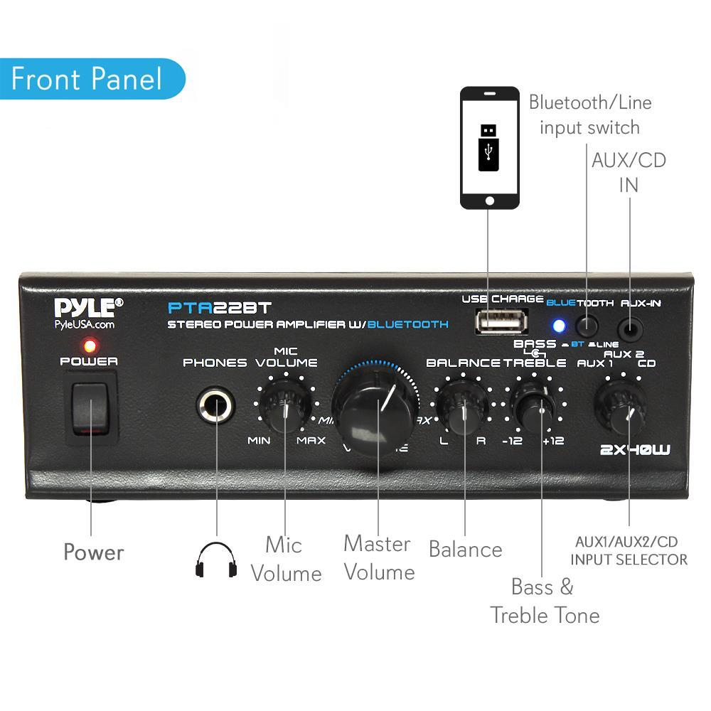 pyle - pta22bt bluetooth mini blue series stereo power amplifier, 2 x 40  watt, pager & mixing/karaoke functions, microphone input, usb charge port,