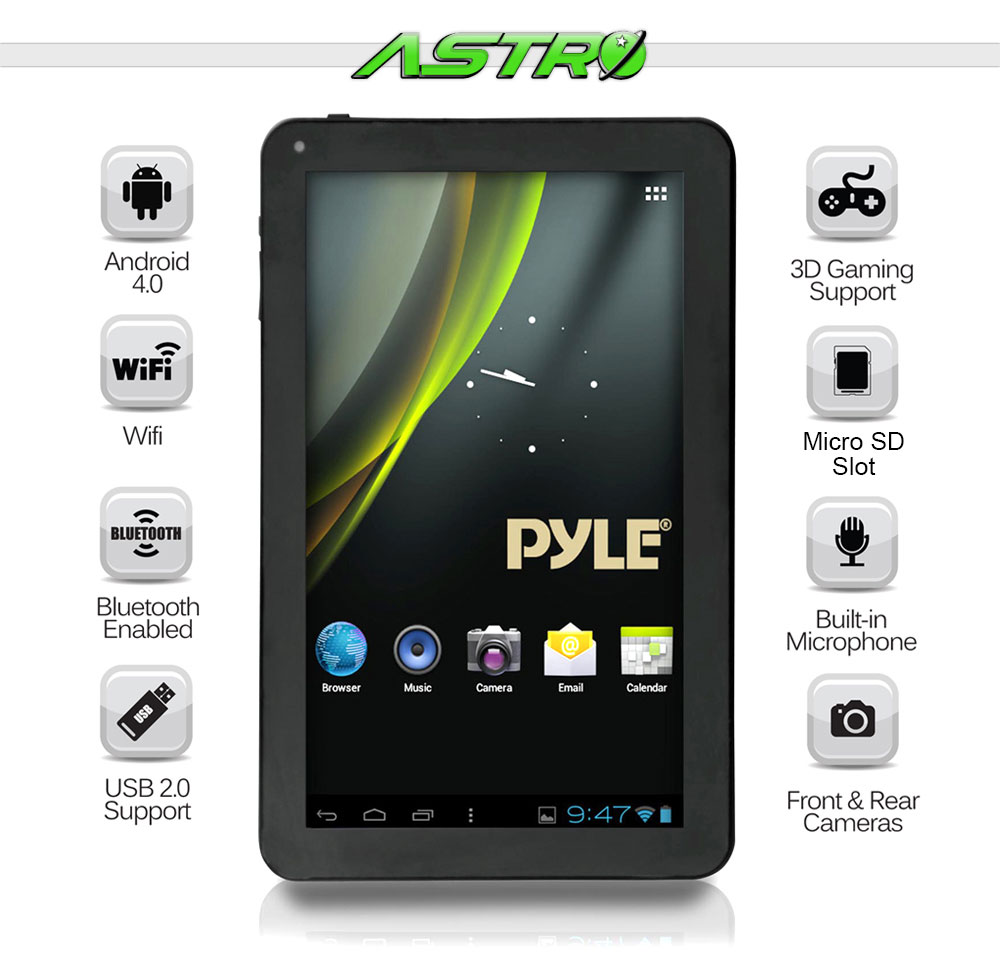 Pyle Astro 9'' Android Bluetooth Digital Touch-Screen 3D Graphics Wi-Fi  Tablet