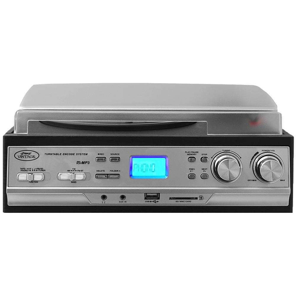 Cassettes /& MP3s USB//SD Classic Retro Style Turntable Plays AM//FM Radio