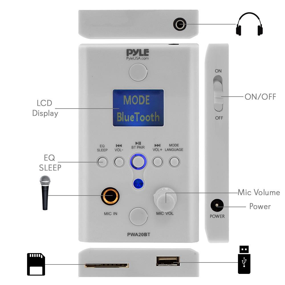 Pyle - PWA20BT - In-Wall Bluetooth Stereo Amplifier - Audio