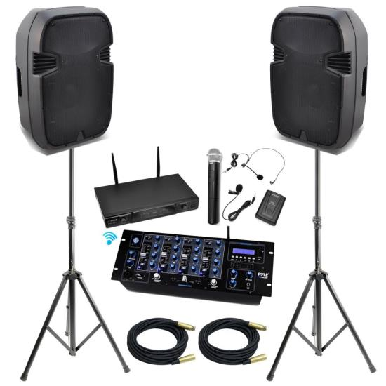 "Pyle-KTHSP490-15""-High-Output-DJ--PA-Powered-Speakers-System-with-a-4-Channel-Mixer-Build-In-Bluetooth,Wireless-Microphones,Speakers-Stand-and-XLR-Audio-Cables"
