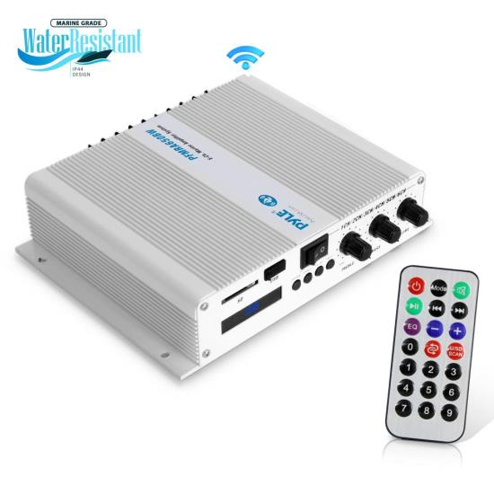 pyle - pfmra650bw 6-ch  bluetooth marine amplifier | weather resistant  audio amp system with mp3/usb/sd readers, 600 watt