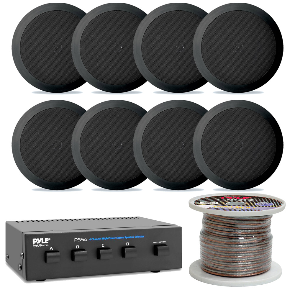 Lot of 6 New Pyle PDIC51RDBK 5.25/' 2-Way In-Ceiling // In-Wall Speakers Black