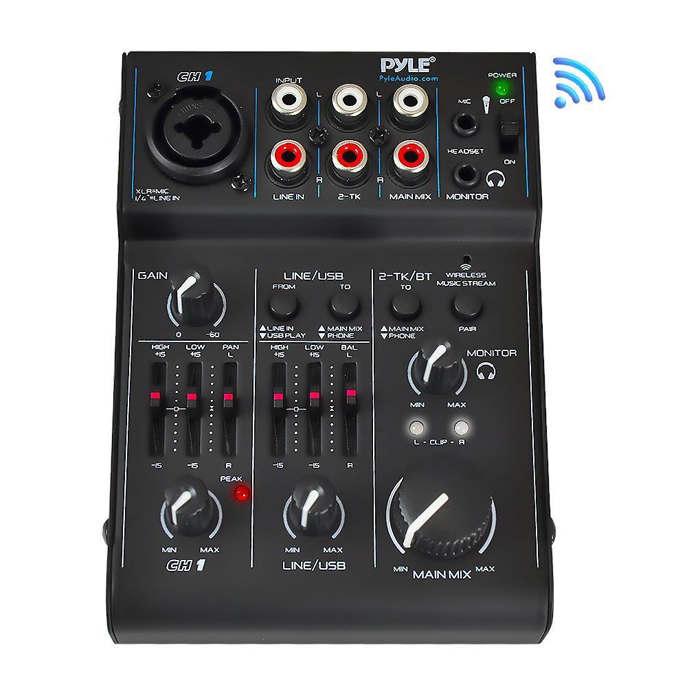 pyle pad30mxubt bluetooth 3 channel mixer dj controller audio interface 18v phantom power. Black Bedroom Furniture Sets. Home Design Ideas