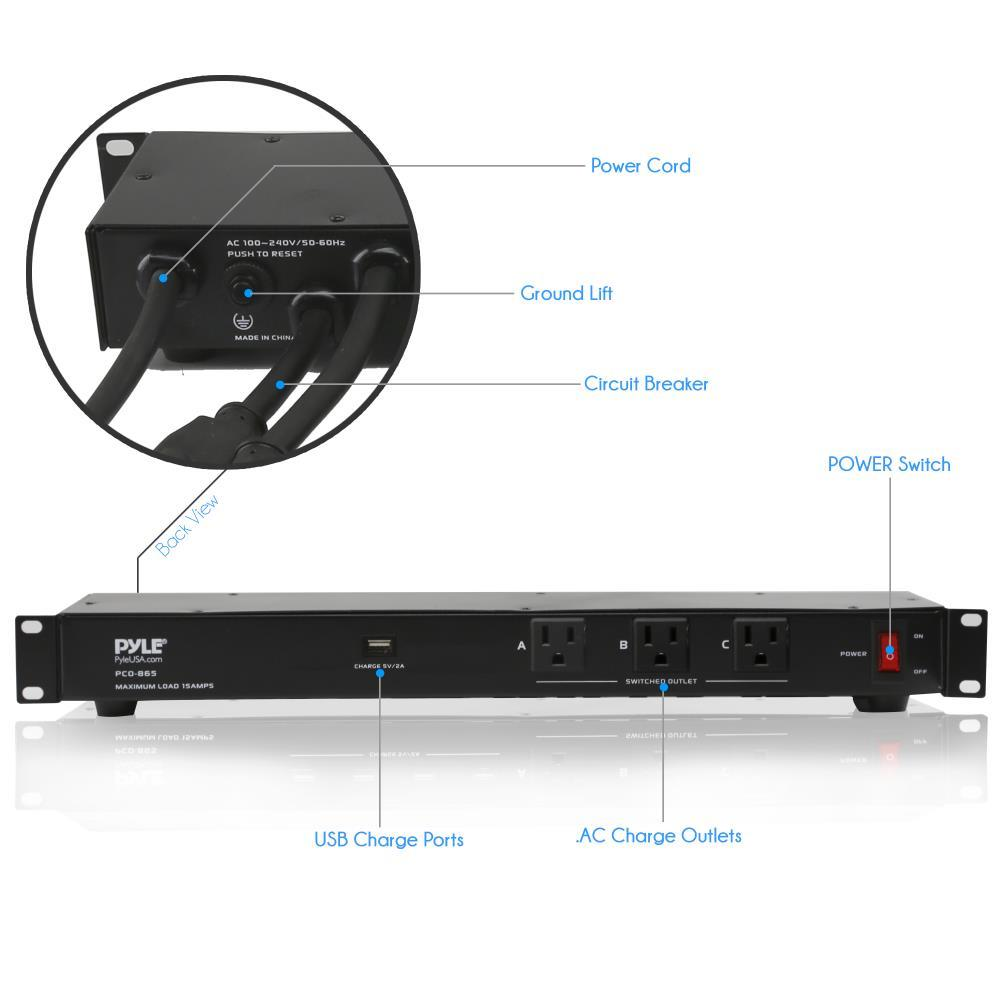 pyle pco860 power supply surge protector rack mount power conditioner strip with usb. Black Bedroom Furniture Sets. Home Design Ideas