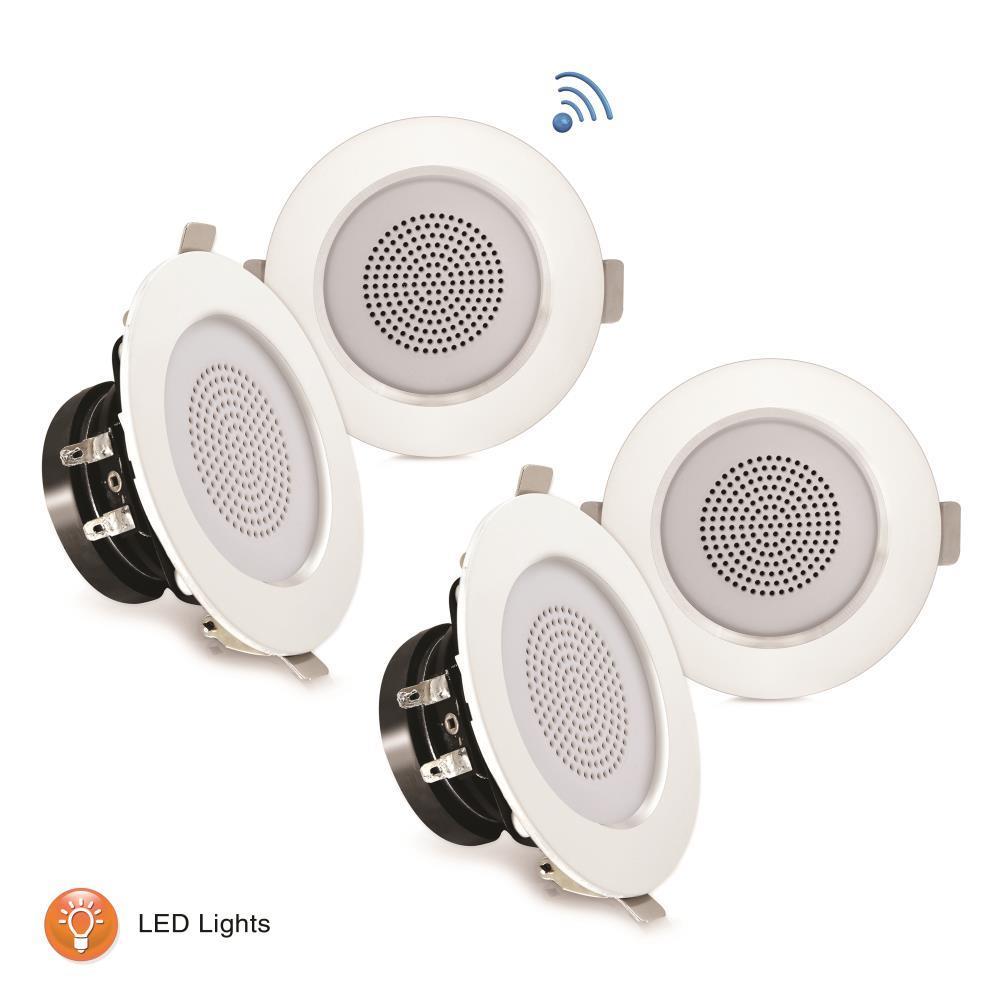 3'' Bluetooth Ceiling / Wall Speaker Kit, (4) Aluminum Frame Speakers With