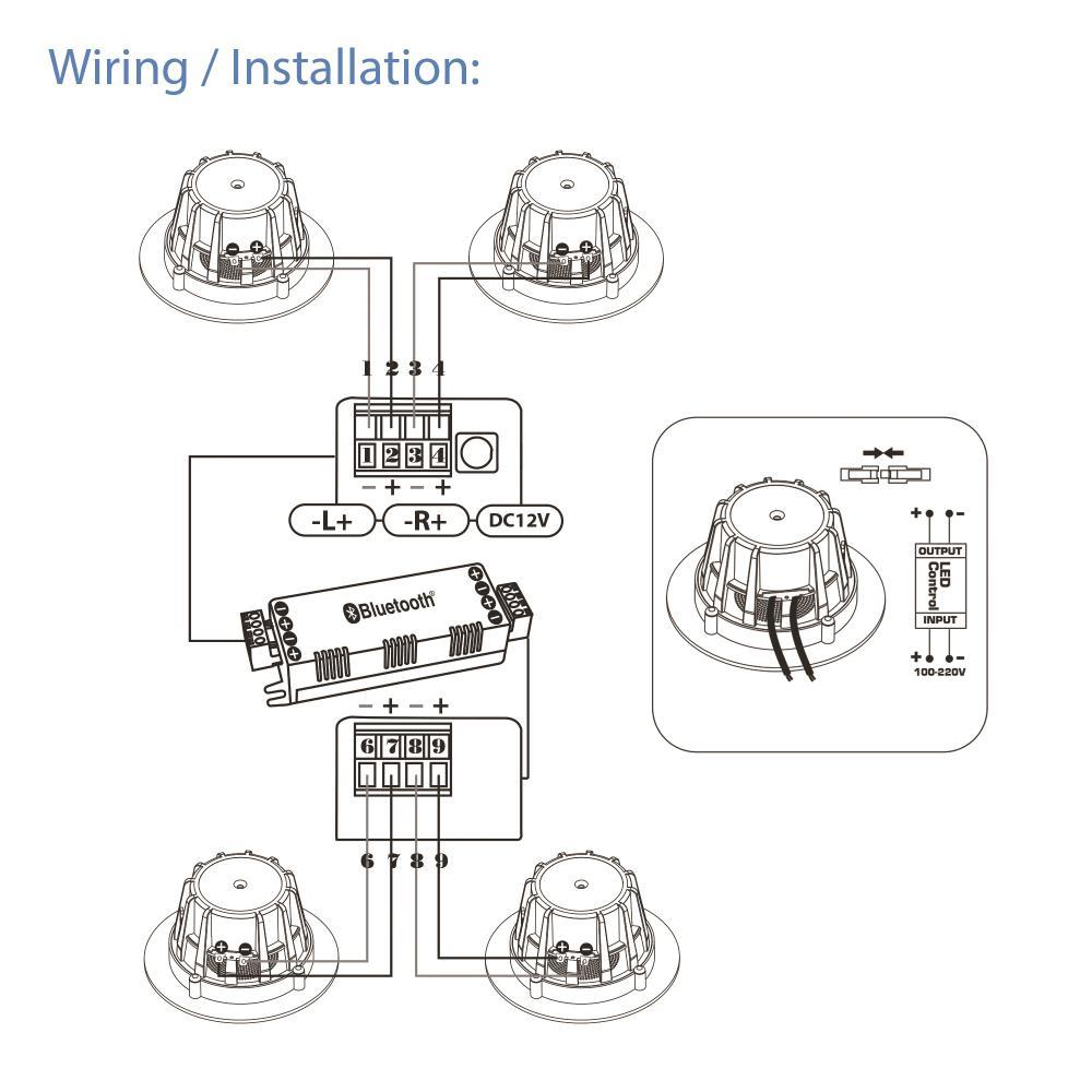 pyle - pdic4cbtl3b   wall speaker kit   4  aluminum frame speakers with