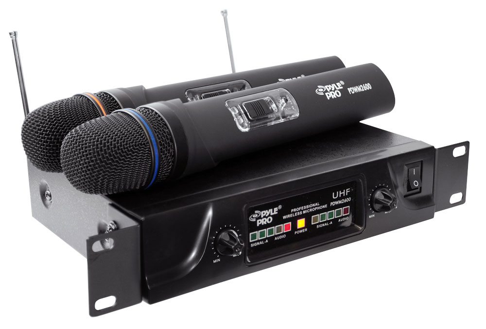 pylepro pdwm2600 dual uhf wireless microphone system. Black Bedroom Furniture Sets. Home Design Ideas