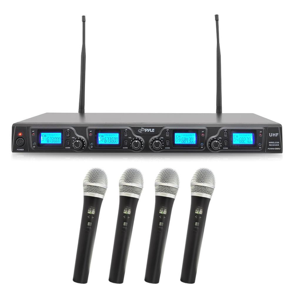 pyle pdwm4360u wireless microphone system uhf quad channel rack mountable includes 4. Black Bedroom Furniture Sets. Home Design Ideas