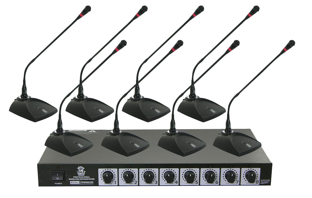 pylepro pdwm8300 professional conference desktop vhf wireless microphone system. Black Bedroom Furniture Sets. Home Design Ideas