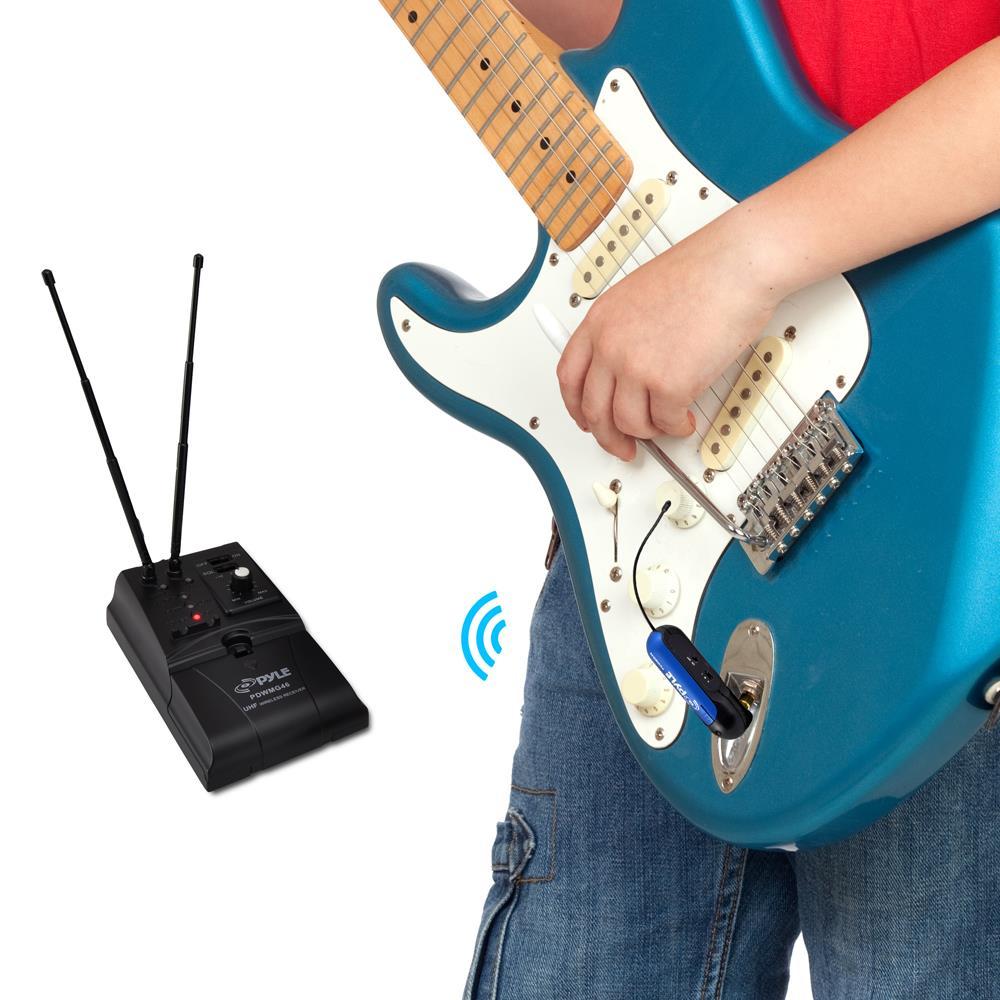 pyle pdwmg46 premier series uhf wireless guitar instrument bug transmitter receiver system. Black Bedroom Furniture Sets. Home Design Ideas