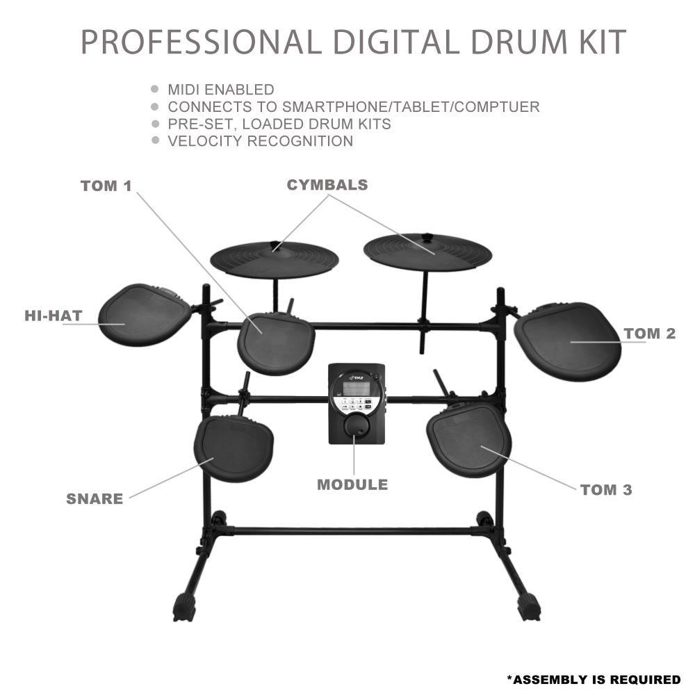 Pyle Ped021m Digital Drum Set Electronic Drum Machine