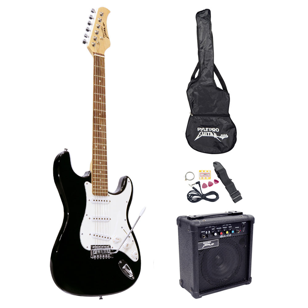 pylepro pegkt15b beginners electric guitar kit includes amplifier accessories black. Black Bedroom Furniture Sets. Home Design Ideas